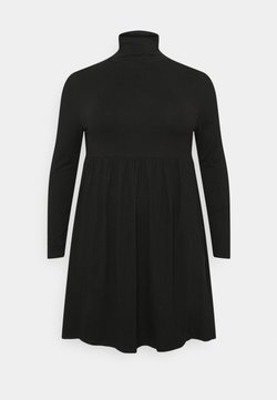 Simply Be - SOFT TOUCH HIGHNECK SMOCK DRESS - Freizeitkleid - black