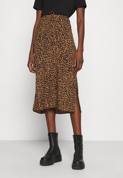 Madewell - PULL ON MIDI SKIRT SLIT IN LEOPARD - Maxirock - brown