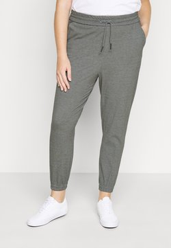 Vero Moda Curve - VMEVA LOOSE TRACK PANTS - Jogginghose - medium grey melange