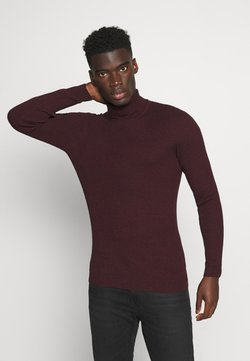 Pier One - MUSCLE FIT TURTLE - Strickpullover - mottled bordeaux