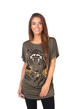 KRISP - OVERSIZE SHINY TIGER  - T-Shirt print - khaki