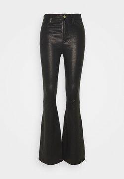 Frame Denim - HIGH FLARE - Pantalon en cuir - noir