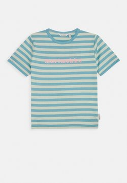 Marimekko - LEUTO TASARAITA - T-shirt print - turquoise/white