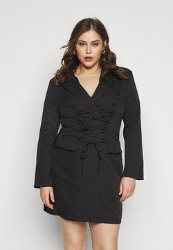 Missguided Plus - LACE UP FRONT BLAZER DRESS - Freizeitkleid - black