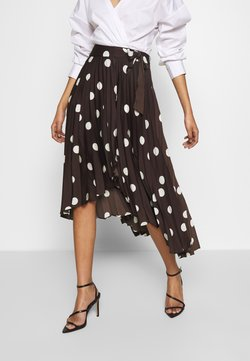 Who What Wear - THE PLEATED WRAP MIDI SKIRT - A-Linien-Rock - brown