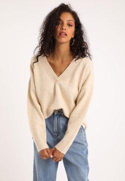Pimkie - MIT GROSSEM V-AUSSCHNITT - Sweter - beige