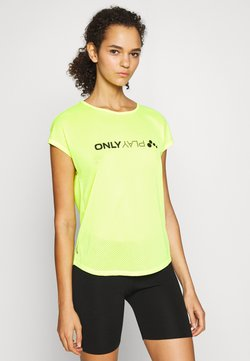 ONLY PLAY Tall - ONPJACEI LOOSE TRAINING TEE TALL - T-shirt print - safety yellow/black