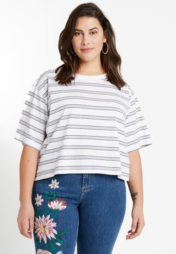 Urban Classics Curvy - LADIES MULTICOLOR STRIPE TEE - T-Shirt print - white/black/skyblue/firered