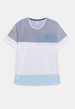 Salomon - SENSE TEE - T-Shirt print - white/night sky/hawaiian ocean