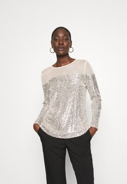 Dorothy Perkins - INSERT SEQUIN LONG SLEEVE - Blusa - champagne