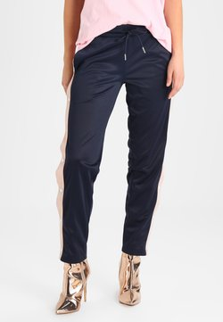 Urban Classics - LADIES BUTTON UP TRACK PANTS - Jogginghose - navy/lightrose/white