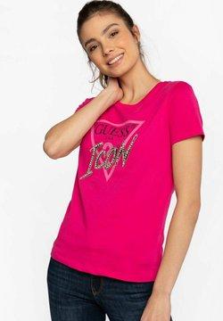 Guess - Z KRÓTKIM RĘKAWEM SS CN ICON TEE  - T-shirt z nadrukiem - pink