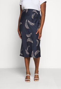 CAPSULE by Simply Be - FEATHER PRINT COLUMN MIDI SKIRT - Bleistiftrock - navy