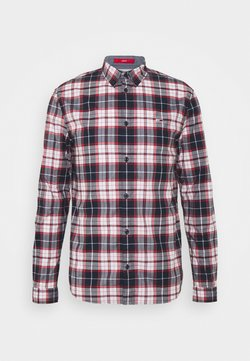 Tommy Jeans - STRETCH CHECK POPLIN  - Vapaa-ajan kauluspaita - red/white/dark blue