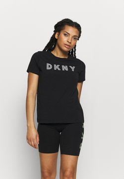 DKNY - TRACK LOGO - Printtipaita - black