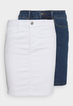 Vero Moda Tall - VMHOT SEVEN SKIRT 2 PACK - Minirock - medium blue denim/bright white