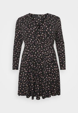 Simply Be - WRAP SKATER DRESS - Kjole - black