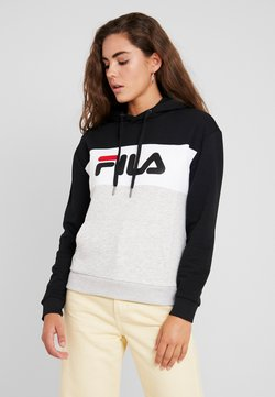 Fila - LORI HOODIE - Sweat à capuche - black/ight grey melange/bright white