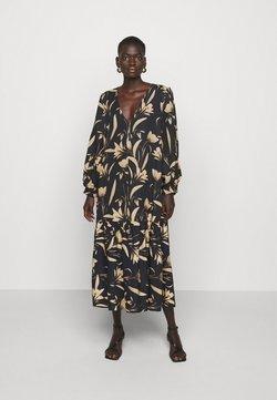 Mother of Pearl - V-NECK DRESS WITH PLEATED SLEEVE GATHERED SKIRT - Freizeitkleid - botanical black