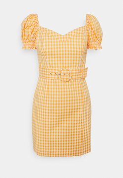 Forever New - NAKITA UTILITY BARDOT DRESS - Cocktailkleid/festliches Kleid - yellow gingham