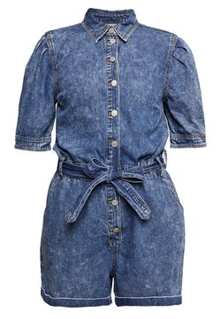 Vila - VICLASH SLEEVE PLAYSUIT - Haalari - medium blue denim/stone wash