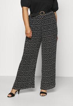 Simply Be - WIDE LEG PLISSE TROUSERS - Pantalon classique - black