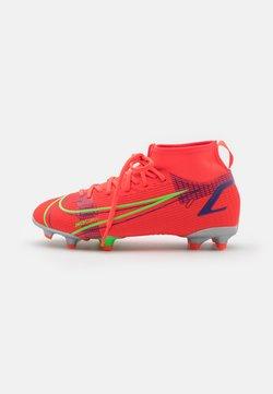 Nike Performance - MERCURIAL JR 8 ACADEMY FG/MG UNISEX - Voetbalschoenen met kunststof noppen - bright crimson/metallic silver