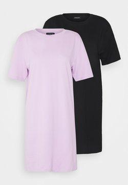 Even&Odd - 2 PACK - Jerseykleid - black/ lilac