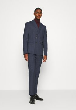 Isaac Dewhirst - DOUBLE BREASTED WINDOWPANE CHECK SUIT - Anzug - dark blue