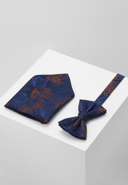 Burton Menswear London - CHINA BOW TIE AND MATCHING POCKET SQUARE SET - Einstecktuch - navy