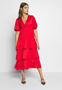 Who What Wear - THE RUFFLE MIDI DRESS - Vestito estivo - carmine red