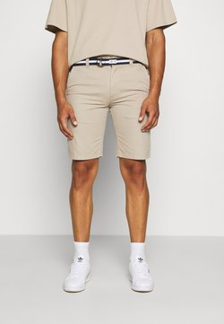Tommy Jeans - BELTED CHINO SHORT - Short - stone