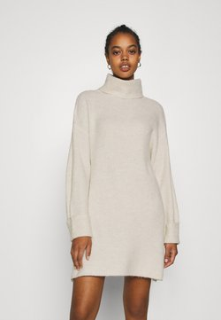 Topshop - PLATED FUNN - Stickad klänning - oat