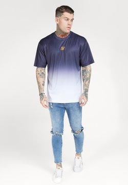 SIKSILK - BOXY FADE TEE - Print T-shirt - navy/white