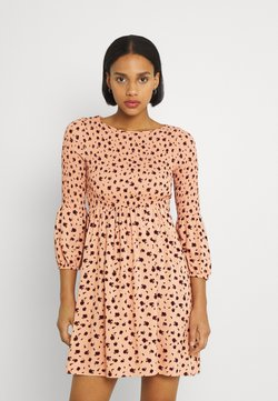 Glamorous - SMOCKED BUBBLE SLEEVE MINI DRESSES WITH ROUND NECK - Freizeitkleid - peach ditsy