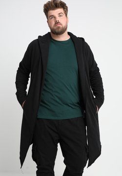 Urban Classics - LONG HOODED OPEN EDGE  - veste en sweat zippée - black