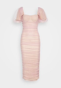 Missguided - RUCHED PUFF SLEEVE MIDI DRESS - Ballkleid - pink