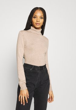 Even&Odd - BASIC- TURTLE NECK JUMPER - Strickpullover - sand