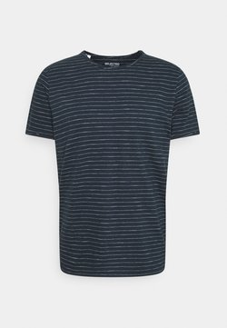 Selected Homme - SLHMORGAN STRIPE O NECK TEE - T-Shirt print - dark sapphire/egret