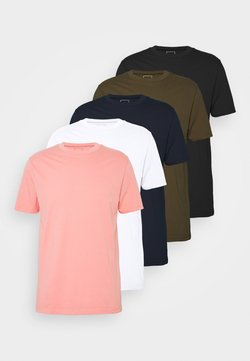 River Island - 5 PACK  - Basic T-shirt - coral/black/white