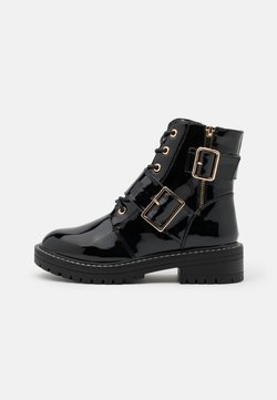 New Look - BUSY LACE UP CHUNKY - Cowboy-/Bikerstiefelette - black