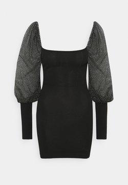 Missguided Petite - GLITTER PUFF SLEEVE MINI DRESS - Cocktailkleid/festliches Kleid - black