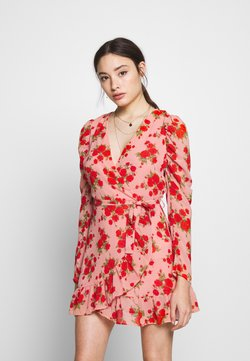 Missguided Petite - PUFF SLEEVE RUFFLE WRAP TEA DRESS FLORAL - Kjole - pink
