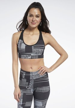 Reebok - HERO MEDIUM-IMPACT DECONSTRUCTED RACER BRA - Sport BH - black