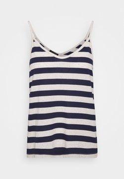 Selected Femme - SLFIVY  V NECK STRAP - Top - maritime blue/white