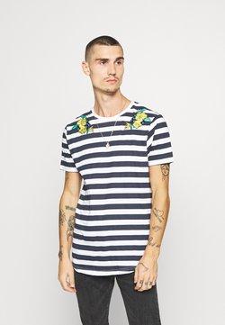 Brave Soul - FENNEL - T-shirt imprimé - navy/white
