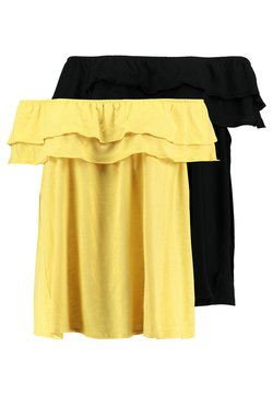 New Look Curves - DOUBLE RUFFLE BARDOT 2 PACK  - Printtipaita - black/mustard