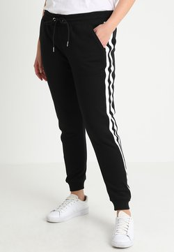 Urban Classics Curvy - LADIES COLLEGE CONTRAST - Jogginghose - black/white