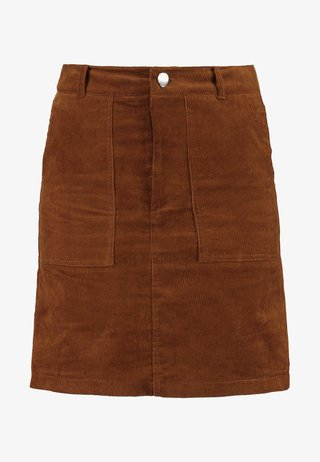 BUTTON FRONT SKIRT - Minifalda - tan
