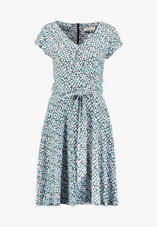 SHORT SLEEVE DIASY PRINT V NECK SOFT BELTED DRESS - Sukienka letnia - blue/white
